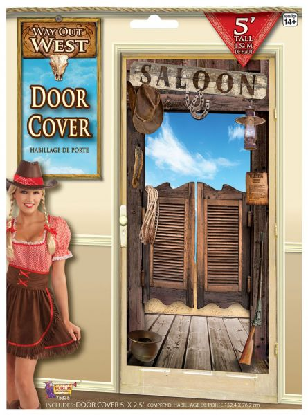 Way Out West Door-Cover Cowboy Party Decoration Wild West Party Decoration